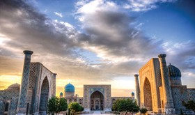 The Registran at sunset in Samarkand, Uzbekistan